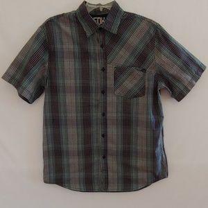 Fox Head Plaid Short Sleeve Button Down Shirt